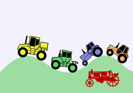 drawing five tractors on crooked road Vector