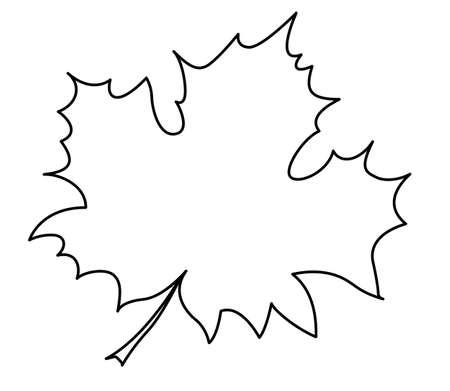 outline drawing: silhouette della foglia d'acero su sfondo bianco