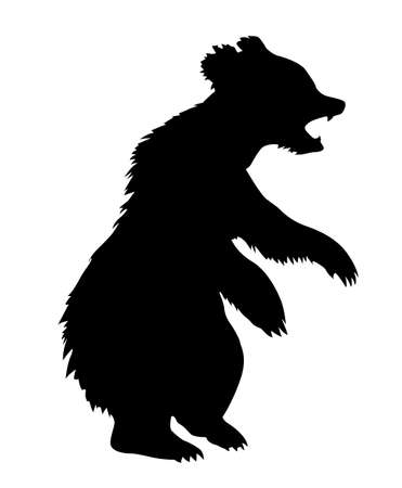 silouette: illustration bear on white background Illustration