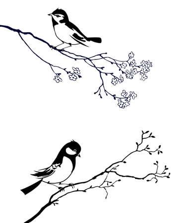 tatouage oiseau: silhouette de l'oiseau sur branche d'arbre Illustration
