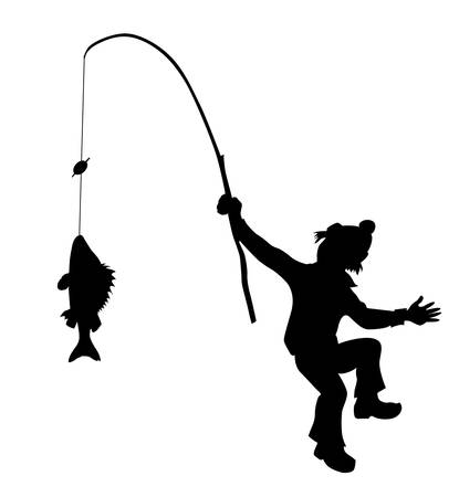 silhouette fisherman on white background Vector