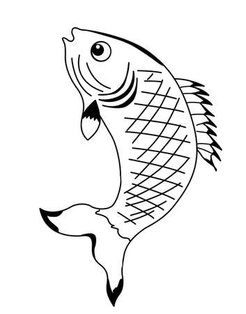 vector silhouette fish on white background