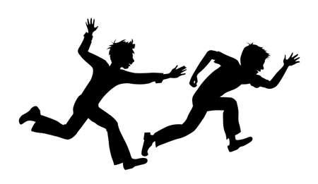 ruffian: two running boy on white background vector  Illustration