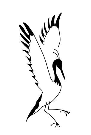 crane bird: vector silhouette crane on white background Illustration