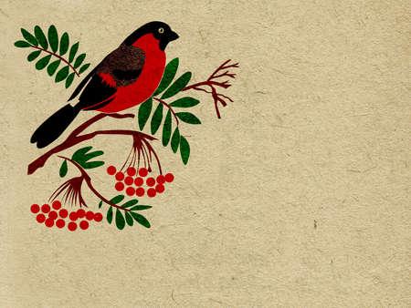 vector red bullfinch on grunge background Illustration