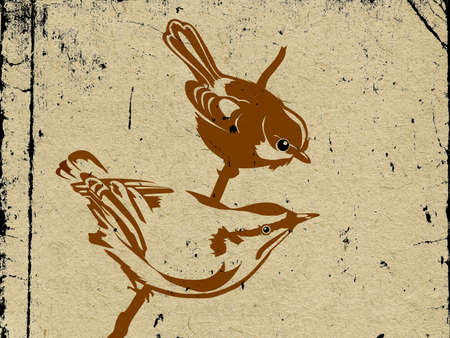 spoiled frame: vector two birds on grunge background