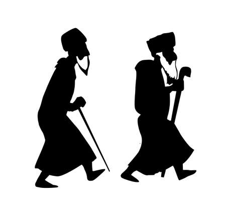 jews: two oldsters on white background vector Illustration
