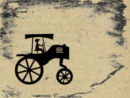 vector tractor on grunge background