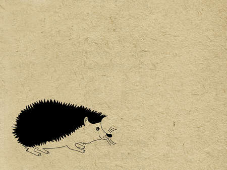 tearing down: vector hedgehog on grunge background