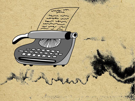 vector type-writer on grunge background Ilustrace