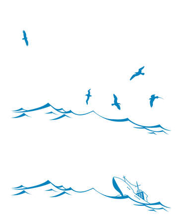 vector set seascape on white background Vector