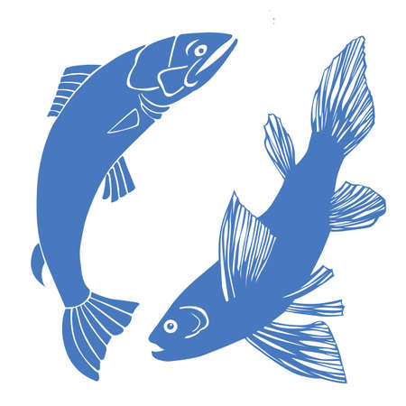 vector set of fish on white background Vector