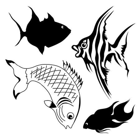 outline drawing of fish: vector set of fish on white background