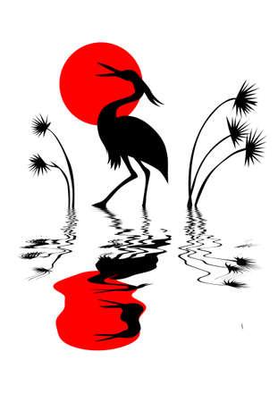 vector silhouet kraan op witte achtergrond Stock Illustratie