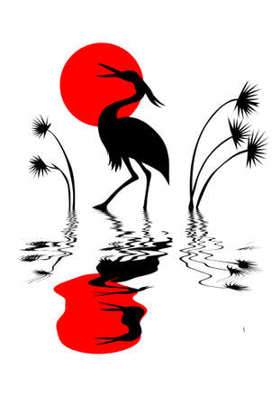 birds lake: vector silhouette crane on white background Illustration