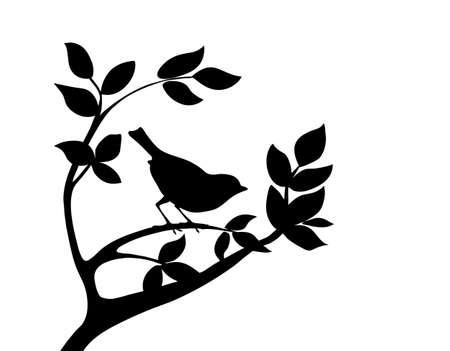 tatouage oiseau: oiseau silhouette vecteur sur l'arbre