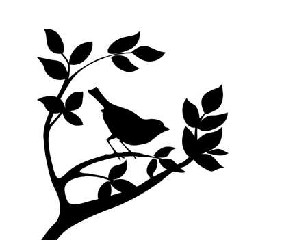 vector silhouette bird on tree Illustration