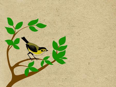 vector bird on tree on grunge background Ilustrace