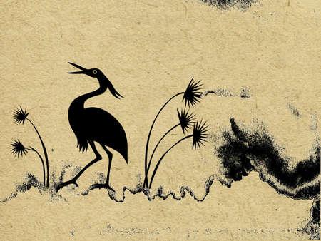cover up: vector crane on grunge background Illustration