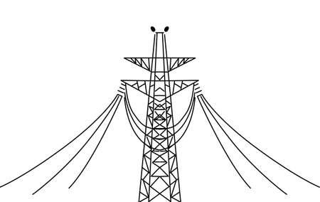 vecteur poteau électrique sur fond blanc Vecteurs