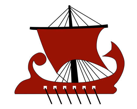 ancient ships: vector red galley on white background