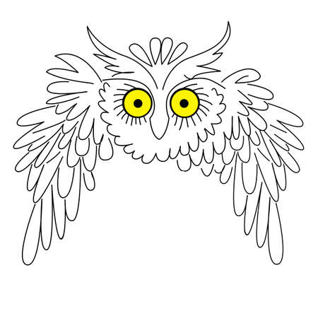 white owl: vector silhouette owl on white background Illustration