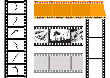 somersault: vector set camera film on white background Illustration