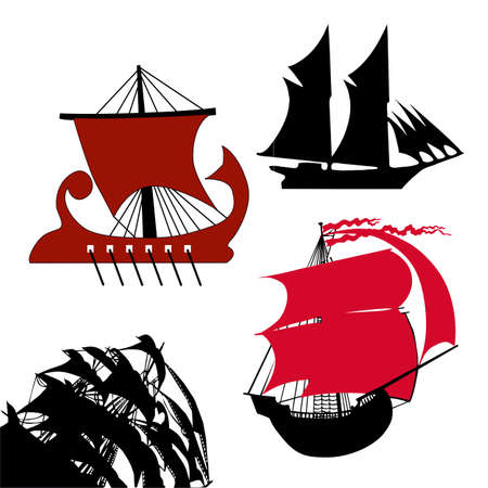 galley:  vector set old-time sailfish on white background