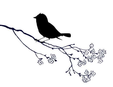 �rboles con pajaros: vector de silueta de aves en el fondo blanco, ilustraci�n vectorial Vectores