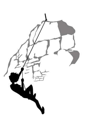 climber silhouette on white background, vector illustration Vector
