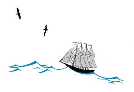 sailfish: парусник на волнах силуэт на белом фоне, векторные иллюстрации