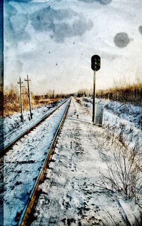 railway semaphore on grunge background photo