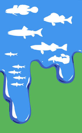 perish: vector illustration of fish in water on green background