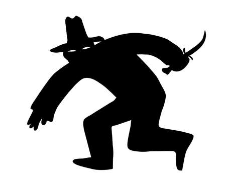 convict: vector silhouette of the thief in mask on white background Stock Photo