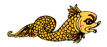 vector illustration of mythological fish illustration