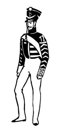 vector drawing of the grenadier on white background photo