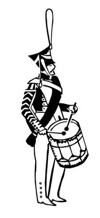 grenadier:  silhouette of the army drummer on white background