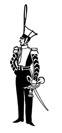 dragoon: vector drawing of the grenadier on white background