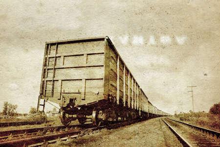 railway on grunge  background photo