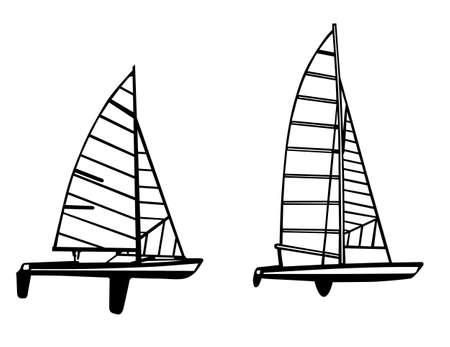 sailfish: sailfish silhouette su sfondo bianco, illustrazione vettoriale