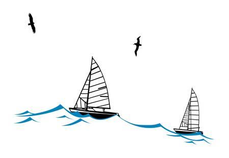sailfish: sailfish onda sulla silhouette su sfondo bianco, illustrazione vettoriale