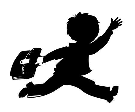 schoolboys: schoolboy silhouette on white background, vector illustration Illustration