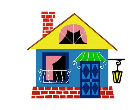 house drawing on white background, vector illustration Vector