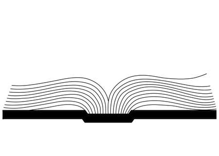 libro abierto: openning silueta libro sobre fondo blanco, ilustraci�n vectorial