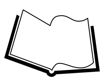 defter: openning book silhouette on white background, vector illustration