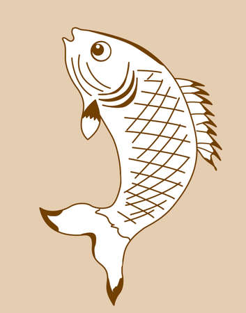 outline fish: fish silhouette on yellow background, vector illustration