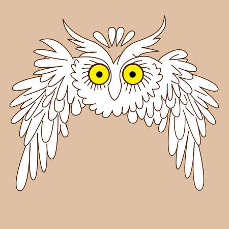 owl silhouette on yellow background, vector illustration