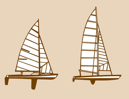 rope ladder: sailfishes siluetas sobre fondo amarillo ilustraci�n vectorial,