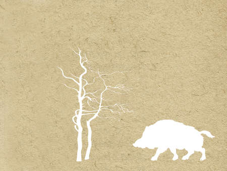 wild boar in wood on grunge background Vector