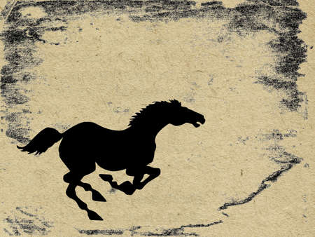 tearing down: horse on grunge background, vector illustration